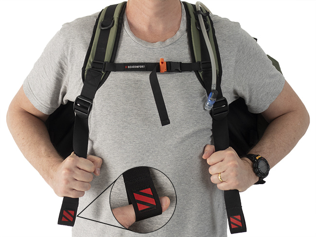 SEASONFORT EXPANSE Backpack Bed adjustable chest strap + emergency whistle